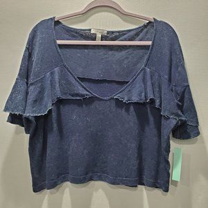 Abound NWT Ruffle Crop Top Distressed P140